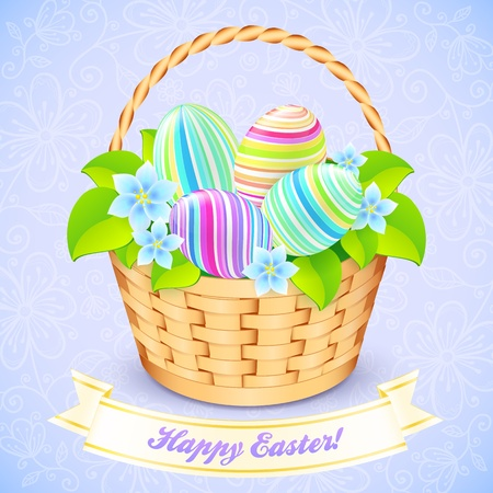 gift basket: Easter bucket with flowers and decorated eggs