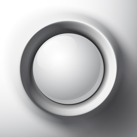 chrome button: White shaded plastic button template Illustration