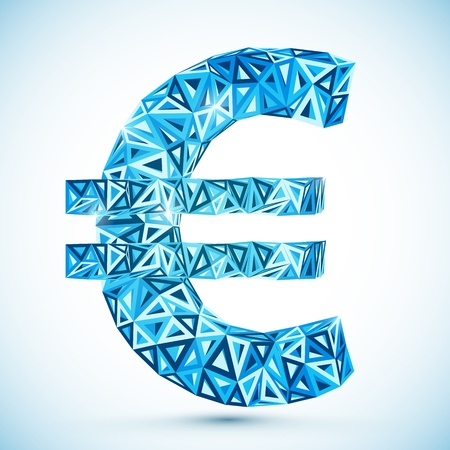 wealth abstract: Blue abstract euro symbol