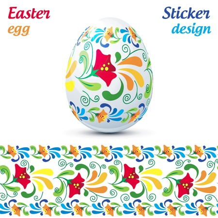 Traditional ornate easter eggs sticker Vector