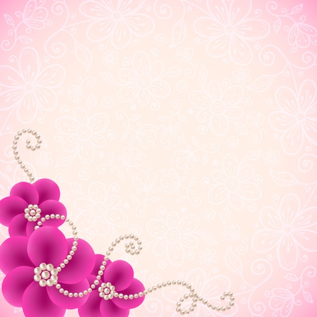 pearl necklace: Romantic lacy background with flowers and pearls