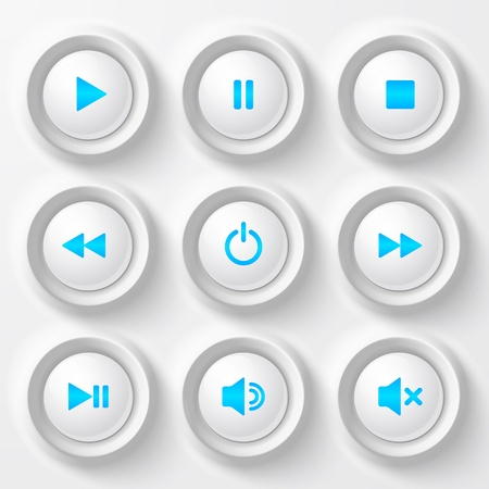 Blue plastic vector navigation buttons Stock Vector - 18776329
