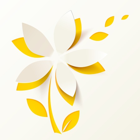 origami paper: Yellow paper flower vector greeting card template