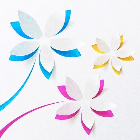 paper craft: Flores de papel saludo tarjeta personal