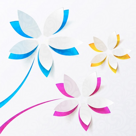 paper: Paper flowers  greeting card template Illustration