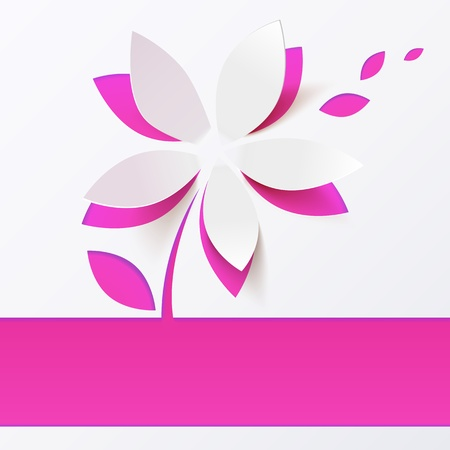 Pink paper flower  greeting card template Stock Vector - 18915097