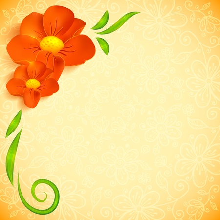 Orange realistic flowers ornate greeting card photo
