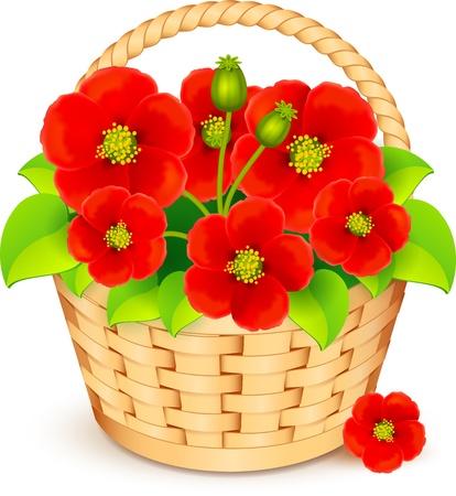 mimbre: Cesta de Vector con hermosas flores rojas