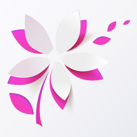 Pink paper flower vector greeting card template Illustration