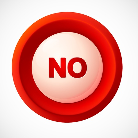 yes and no: Red plastic vector NO button