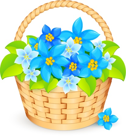 mixed flower bouquet: basket of blue flowers