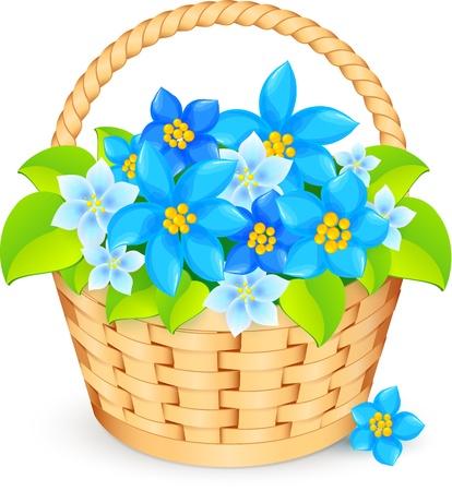 košík: koš modré květy