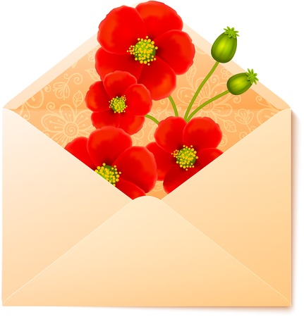 red envelope: Vecot envelope with red flowers inside Illustration
