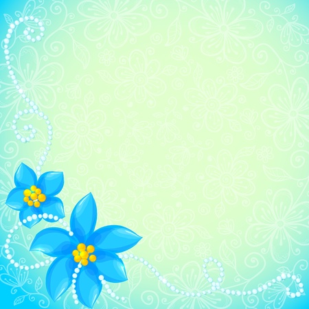 circle of blue flowers greeting card Vector