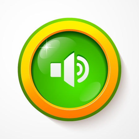 Green glass sound button Illustration