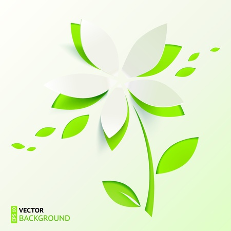Green paper cutout  flower Vector