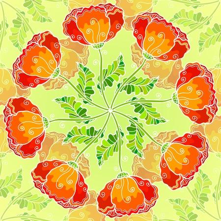 Vector decorative ornate poppy flowers circle Vector