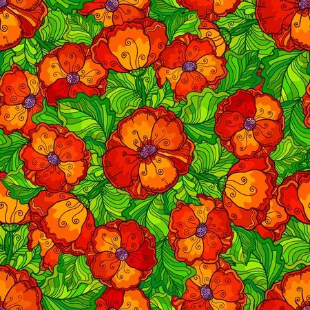 poppy pattern: Vector ornate poppy flowers seamless pattern