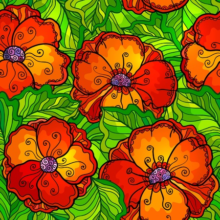painting style: Vector ornate poppy flowers seamless pattern