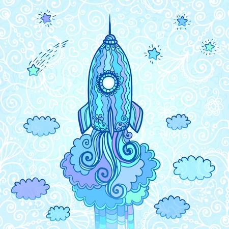 Vector ornate doodles rocket starting to space Stock Vector - 19355896