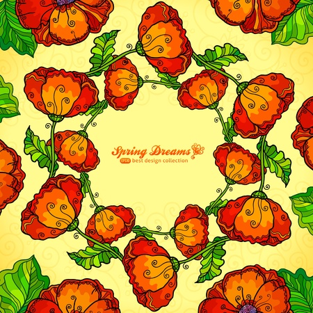 Vector decorative ornate poppy flowers circle Stock Photo - 19355897