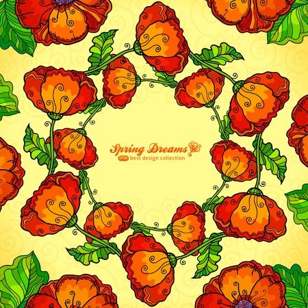 Vector decorative ornate poppy flowers circle Stock Photo - 19355897