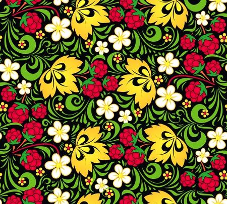 hohloma: Vector pattern traditional Russian style Hohloma