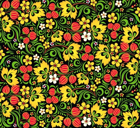 russian tradition: Vector pattern traditional Russian style Hohloma