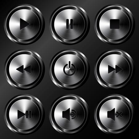 Metallic sound buttons vector set Stock Vector - 19355895