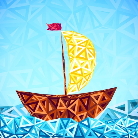 Abstract triangles pattern vector simple boat Stock Vector - 19355890