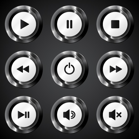 Black metallic vector power buttons set Vector