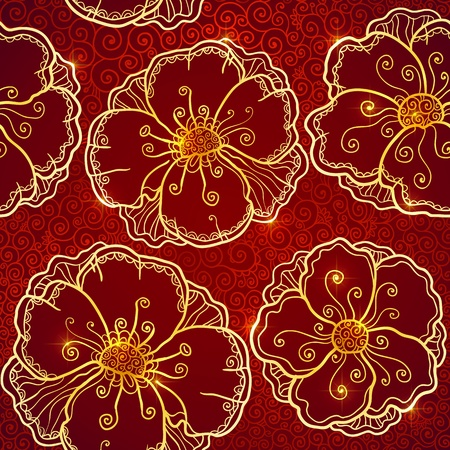 vinous: Ornate vinous flowers vector seamless pattern