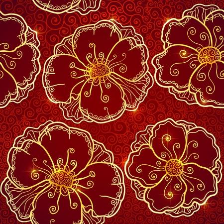 Ornate vinous flowers vector seamless pattern Stock Vector - 19355925