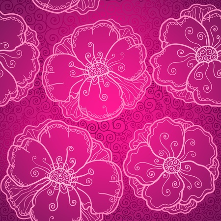 Ornate pink flowers vector seamless pattern Stock Vector - 19355919