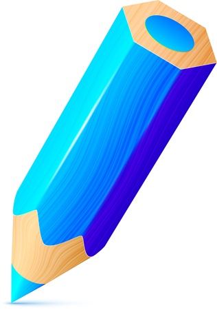 Vector cute blue wooden little pencil Stock Vector - 19355937