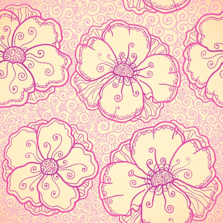 Ornate pink flowers vector seamless pattern Stock Photo - 19355930