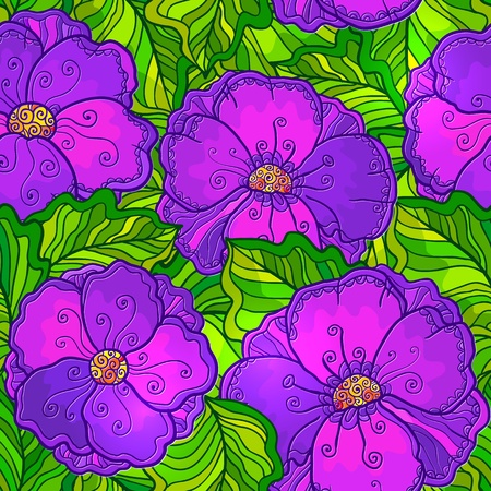 vinous: Ornate violet flowers vector seamless pattern Illustration