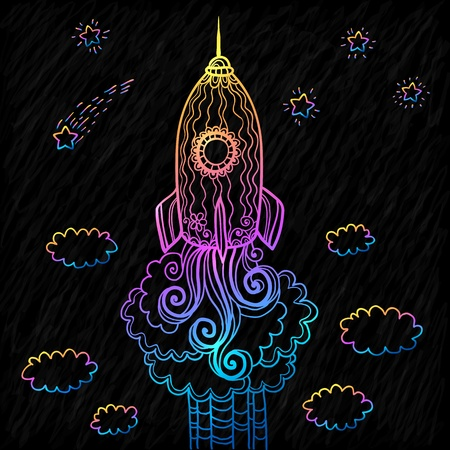 Vector ornate doodles rocket starting to space Vector