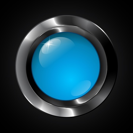 Blue vector glass realistic plastic button Stock Vector - 19355918