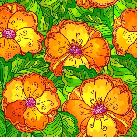 Ornate orange flowers vector seamless pattern Stock Photo - 19355929
