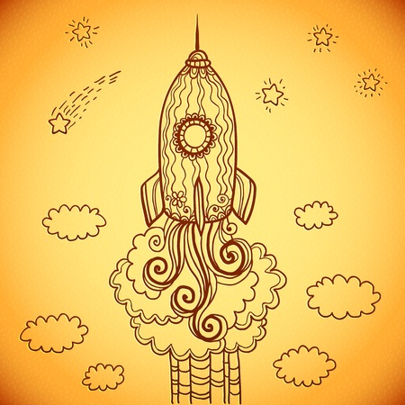 Vector ornate doodles rocket starting to space photo