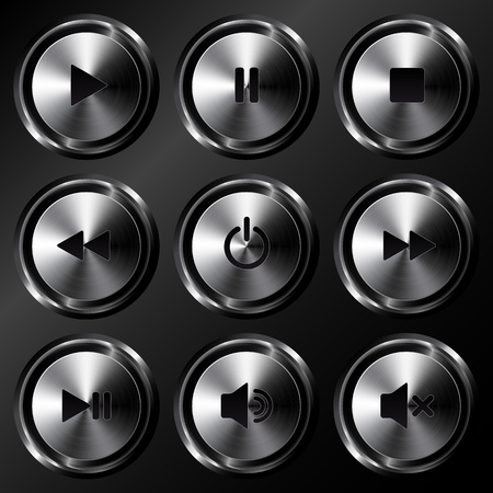 Metallic sound buttons vector set Stock Vector - 19355928
