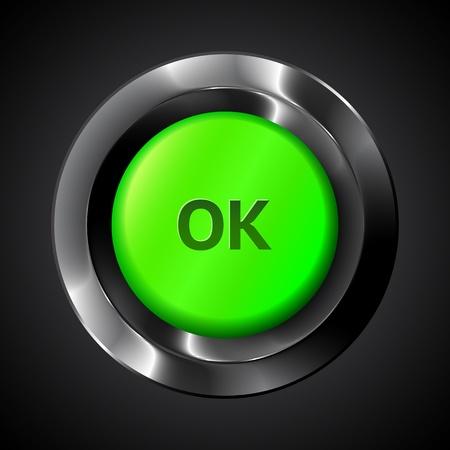 tecla enter: Botón de plástico realista ok vector verde