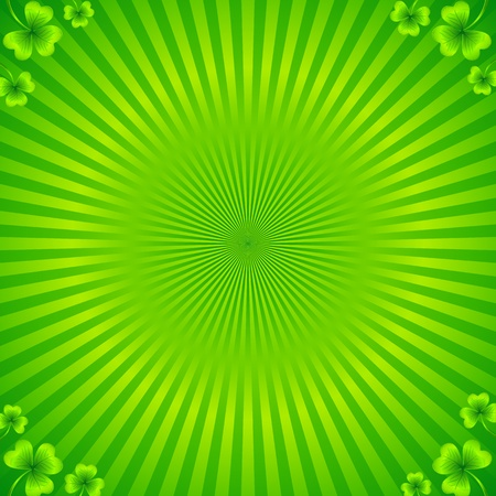 Green radial stripes background with clovers Stock Vector - 19355922