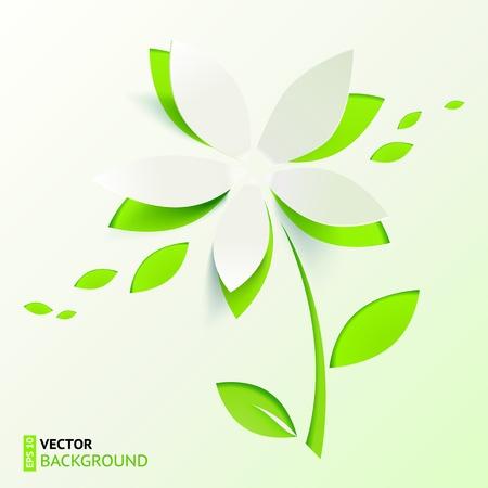 Green paper cutout vector flower Stock Photo - 19355908