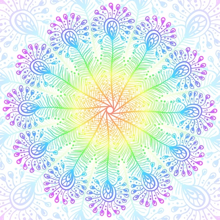 Bright rainbow vector peacock feathers background Illustration