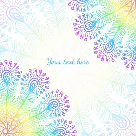 bright: Bright rainbow vector peacock feathers background Illustration