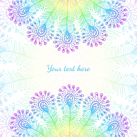 Bright rainbow vector peacock feathers background Vector