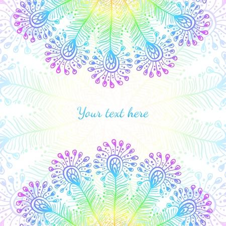 arco iris vector: Brillante arco iris de plumas de pavo real vector de fondo