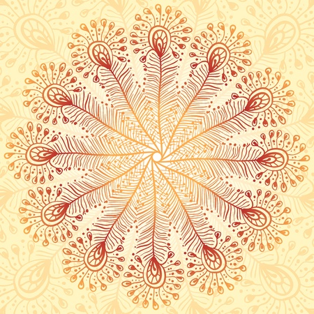 Vintage beige abstract peacock feathers background Vector